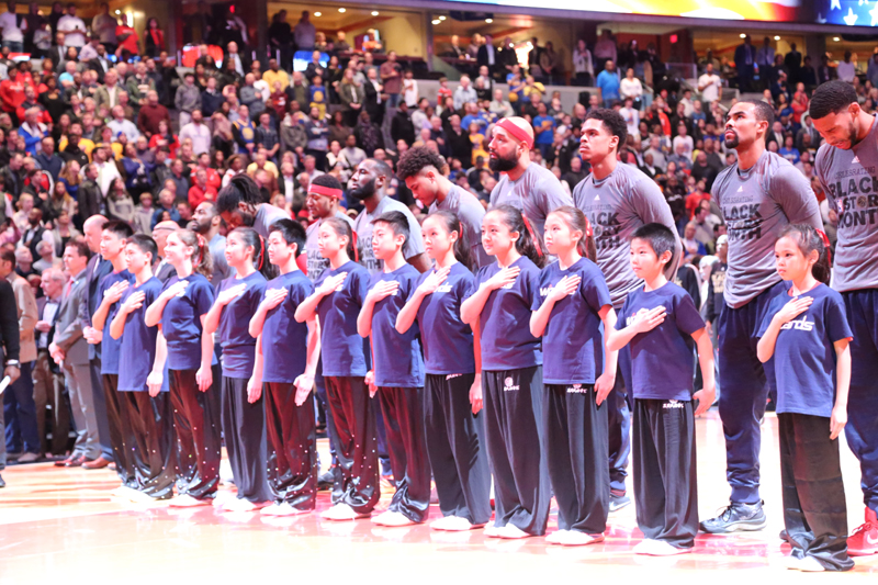 Wushu and Washington Wizards during the National Anthem